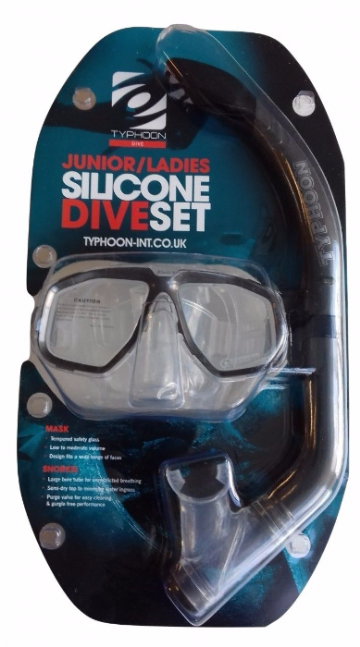 Typhoon Pro Silicone JUNIOR Mask and Snorkel Set SILVER.